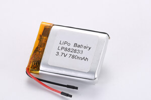 Li Polymer Battery LP882833 3.7V 780mAh with protection circuit and wires