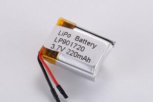 Li Polymer Battery LP901720 3.7V 220mAh with PCM, Wires, Tab