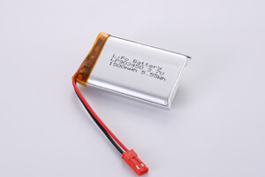 Li Polymer Battery LP903450 3.7V 1500mAh with protection circuit, wires, and connector