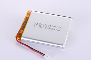 Li Polymer Battery LP906070 3.7V 4500mAh with protection circuit, wires, and connector