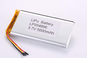 Li Polymer Battery LP954896 3.7V 5000mAh with protection circuit, NTC, wires, and connector
