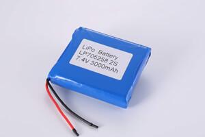 Li Polymer Battery Pack LP705258 2S 7.4V 3000mAh