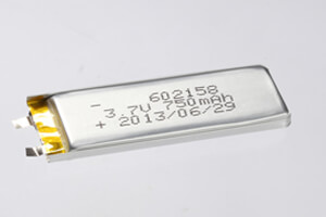 Li Polymer Battery LP602158 3.7V 750mAh without protection circuit, without wires