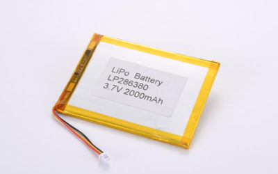 3.7V Rechargeable Li Polymer Battery LP286380 2000mAh With NTC and JST SHR Connector