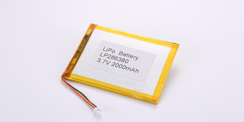 Li Polymer Battery LP286380 3.7V 2000mAh with NTC and JST SHR-03V-S-B