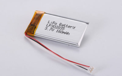 3.7V Rechargeable Li Polymer Battery LP302035 160mAh With NTC and JST ACHR-03V Connector