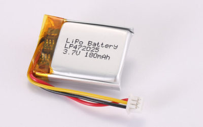 3.7V Rechargeable Li Polymer Battery LP472025 180mAh With NTC and Molex 51021-0300 Connector