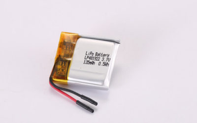 3.7V Rechargeable Li Polymer Battery LP481922 135mAh 0.5Wh With PCM and Wires