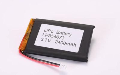 3.7V Rechargeable Li Polymer Battery LP554673 2400mAh With PCM and JST PHR-2 Connector