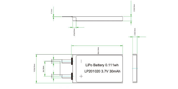 li Polymer battery cell without pcm and wires