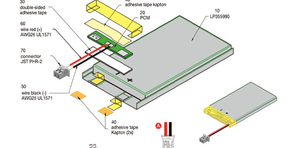 li polymer battery with pcm and connector
