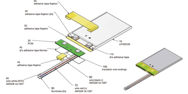 li polymer battery with pcm and ntc and wires
