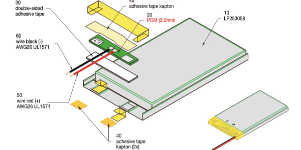 li polymer battery with pcm and wires